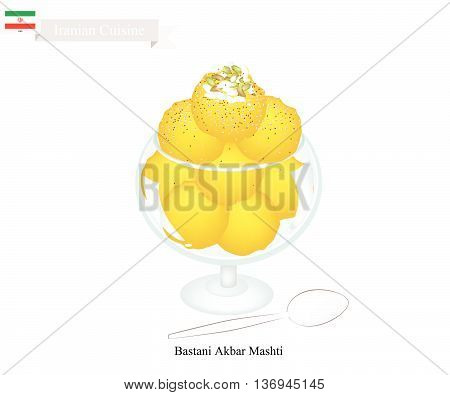 Iranian Cuisine Bastani Akbar Mashti or Traditional Persian Ice Cream Made From Milk Eggs Sugar Rose Water and Saffron. One of The Most Famous Dessert in Iran.