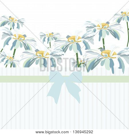 Watercolor Chamomile flowers. Vector Wedding card or invitation with Chamomile flowers. Greeting card in Vintage or Retro style