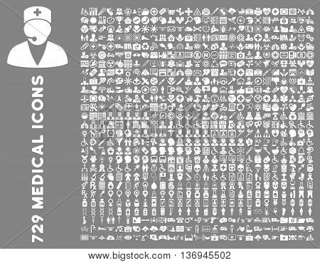 Medical Icon Collection with 729 vector icons. Style is white flat icons isolated on a gray background.