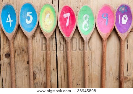 Numbered Wooden Spoons In Sequence For Cafe Menu Background