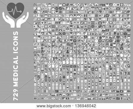 Medical Icon Clipart with 729 vector icons. Style is bicolor dark gray and white flat icons isolated on a silver background.