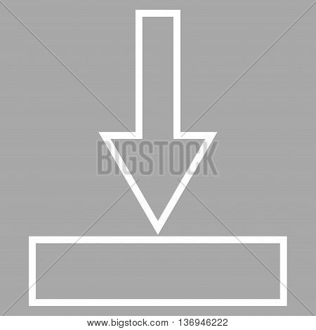 Push Down vector icon. Style is thin line icon symbol, white color, silver background.