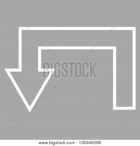 Return Arrow vector icon. Style is outline icon symbol, white color, silver background.