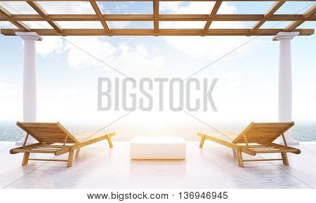 Resort lounge area with small table two wooden chaise lounges and sea view with sunlight. Toned image. 3D Rendering
