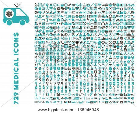 Medical Icon Clipart with 729 vector icons. Style is bicolor grey and cyan flat icons isolated on a white background.