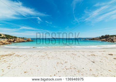 white sand in Capriccioli beach in Costa Smeralda Italy