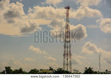 mobile phone tower and blue sky background