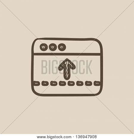 Browser window with arrow up vector sketch icon isolated on background. Hand drawn Browser window with arrow up icon. Browser window with arrow up sketch icon for infographic, website or app.