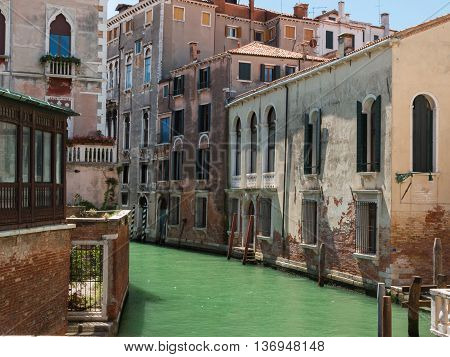 Glimpse Of Typical Water Canal In Venice, Italy