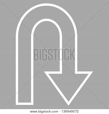 Turn Back vector icon. Style is stroke icon symbol, white color, silver background.