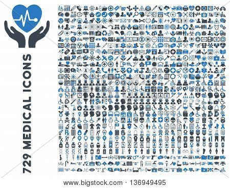 Medical Icon Set with 729 vector icons. Style is bicolor smooth blue flat icons isolated on a white background.