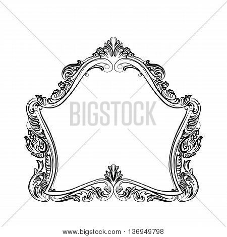 Luxury Baroque Rococo Mirror frame set. Vector French Luxury rich carved ornaments and Wall Frames. Victorian Royal Style frame