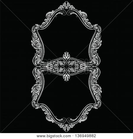 Luxury Baroque Rococo Mirror frame set. Vector French Luxury rich carved ornaments and Wall Frames. Victorian Royal Style frame. Black color