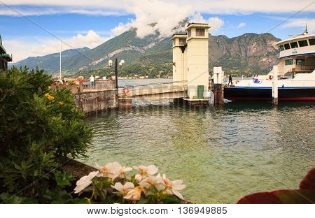 BELLAGIO ITALY - JUNE 12: Ferry boat in the lake Como on june 12 2016