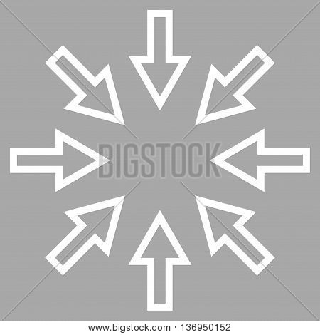 Compact Arrows vector icon. Style is contour icon symbol, white color, silver background.