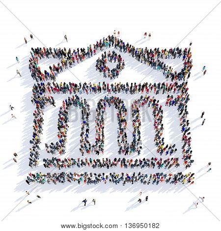 Large and creative group of people gathered together in the shape of the antique building. 3D illustration, isolated against a white background.