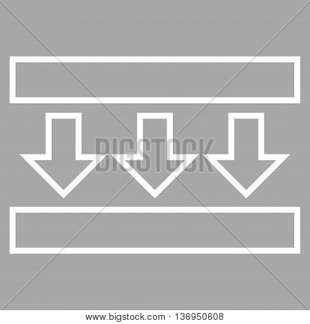 Pressure Down vector icon. Style is outline icon symbol, white color, silver background.