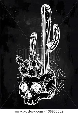 Hand drawn romantic beautiful drawing of skull with cactus. Desert spiritual cacti art. Vector illustration isolated. Ethnic design, mystic tribal boho symbol for your use.