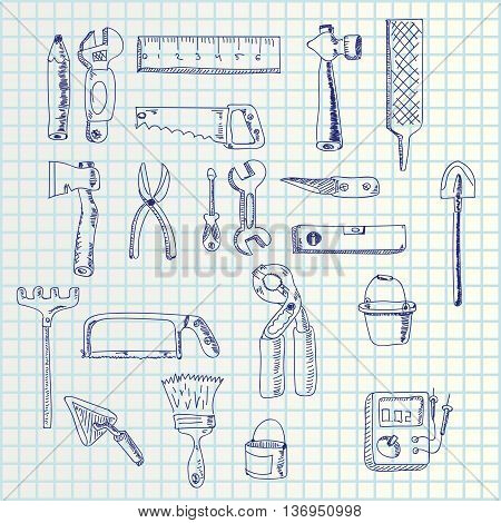 illustration of hand draw hand tools set on square paper list