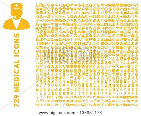 Medical Icon Clipart with 729 vector icons. Style is yellow flat icons isolated on a white background.
