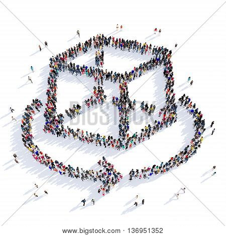 Large and creative group of people gathered together in the shape of a box, turn. 3D illustration, isolated against a white background.