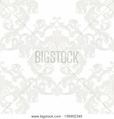 Vector Royal floral damask baroque ornament pattern element. Elegant luxury texture for textile fabrics or backgrounds. taupe color