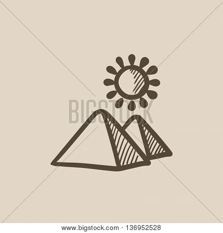 Egyptian pyramids vector sketch icon isolated on background. Hand drawn Egyptian pyramids icon. Egyptian pyramids sketch icon for infographic, website or app.