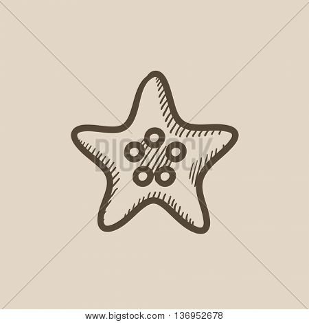 Starfish vector sketch icon isolated on background. Hand drawn Starfish icon. Starfish sketch icon for infographic, website or app.