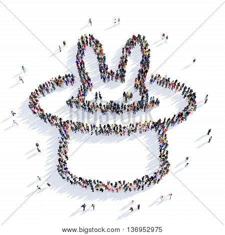 Large and creative group of people gathered together in the shape of focus, hat rabbit. 3D illustration, isolated against a white background.