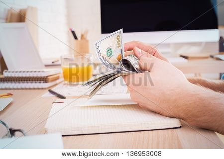 Man Counting Money Side