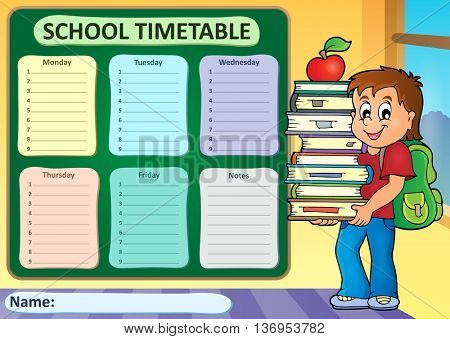 Weekly school timetable theme 3 - eps10 vector illustration.