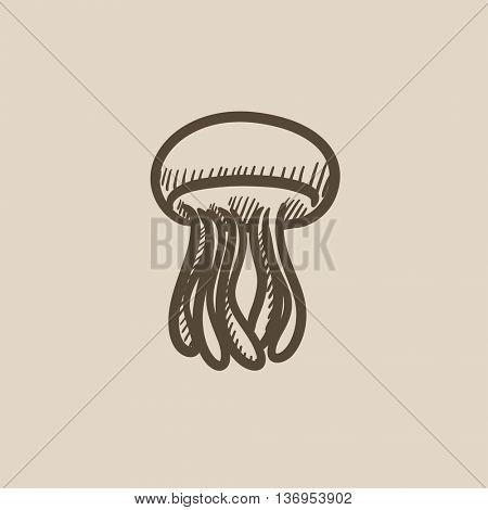 Jellyfish vector sketch icon isolated on background. Hand drawn Jellyfish icon. Jellyfish sketch icon for infographic, website or app.
