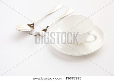 Spoon, Fork And Tea Cup