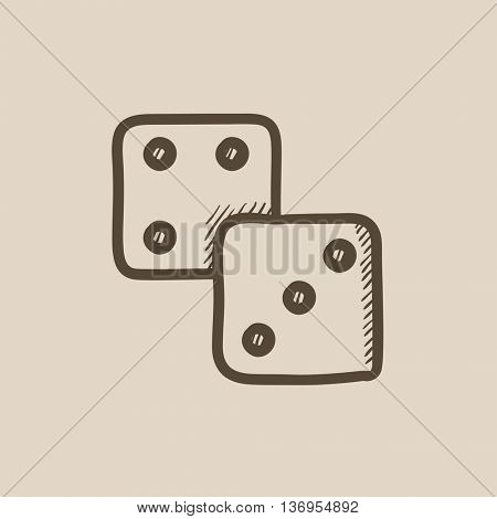Dices vector sketch icon isolated on background. Hand drawn Dices icon. Dices sketch icon for infographic, website or app.