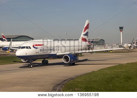 LONDON UK - APR 20 2016: British Airways Airbus A320 at the London Heathrow international airport. Hillingdon England United Kingdom.
