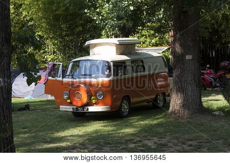 Paris France-June 30 2016: volkswagen t1t2 camper with lifting roof