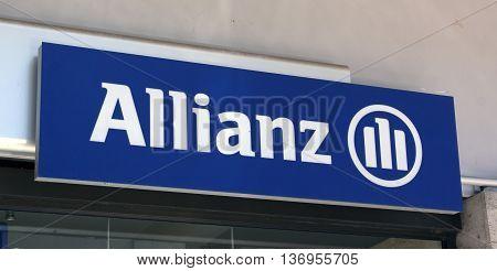 Paris France-June 20 2016: sign og the allianz insurance company