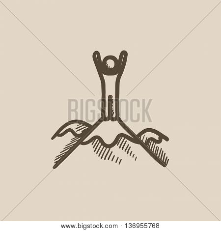 Man standing on top of mountain vector sketch icon isolated on background. Hand drawn Man standing on top of mountain icon. Man standing on top of mountain sketch icon for infographic, website or app.