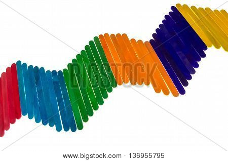 geometric composition with colorful popsicle sticks isolated on white background