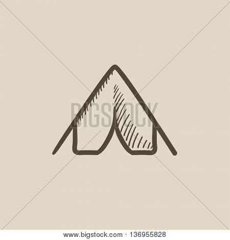 Tent vector sketch icon isolated on background. Hand drawn Tent icon. Tent sketch icon for infographic, website or app.