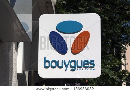 Paris France-June 20 2016: sign of Bouygues telecom a french telecom company