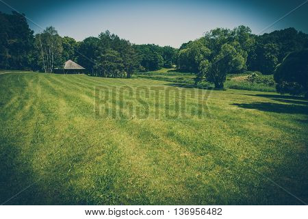 Empty field of grass with trees and thatched hut on the horizon. Retro stylized photo.