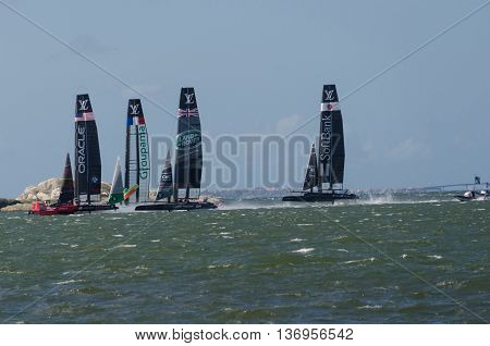 very fast boat sailng in americas cup in the competition in Gothenburg 2015-08-28