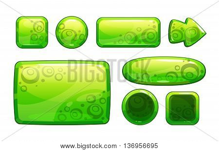 Green glossy game assets set, isolated on white, different shape buttons and panels for game or web design, vector gui elements