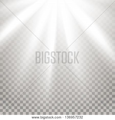Rays of light. Glaring effect with transparency. Abstract glowing light background. Ready to apply. Graphic element for documents, templates, posters, flyers. Vector illustration