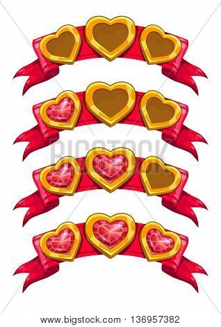 Fancy golden hearts on red ribbon, vector game assets isolated on white background, game results ranking, cartoon elements for game design