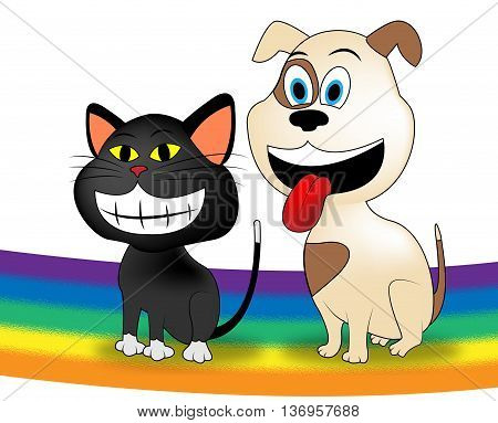 Dog Cat Rainbow Represents Colorful Doggy And Kitten