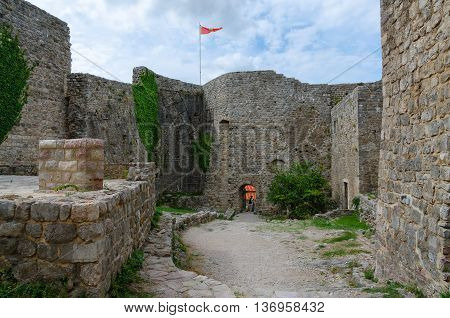 BAR, MONTENEGRO - SEPTEMBER 24, 2015: Stone walls of ancient fortress in Old Bar Montenegro