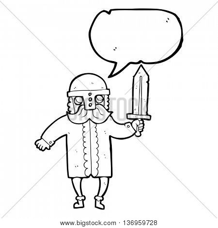 freehand drawn speech bubble cartoon saxon warrior