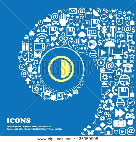 Contrast Icon Sign . Nice Set Of Beautiful Icons Twisted Spiral Into The Center Of One Large Icon. V